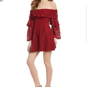 NWT Sugarlips Red Lace Off the Shoulder Dress XS